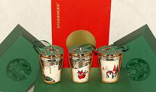 STARBUCKS - 2016 - 3 pc Polar Bear Penguin Fox Ceramic Christmas Ornaments *NEW