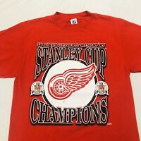 Vintage Detroit Red Wings 90s NHL Stanley Cup Champion T-Shirt Logo 7 Large 1997
