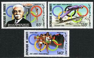 Djibouti 631-633, MNH.Olympics,Seoul & Calgary.Pierre de Couberlin,Ski jump,1987