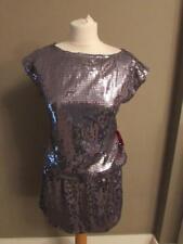 ASOS Premium Plata embellecido con lentejuelas Vestido con Lentejuelas Fiesta De Navidad Talla 8 BNWT