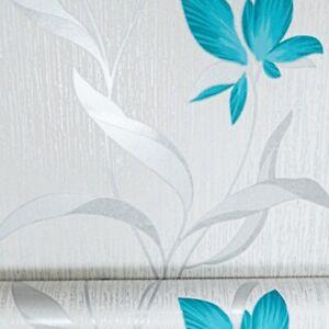 Erismann White Silver Teal Floral Metallic Shimmer Glitter Textured Wallpaper