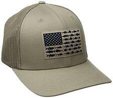 NEW COLUMBIA PFG MESH HAT CAP - FLEX-FIT - TUSH TAN - FISH FLAG - L/XL