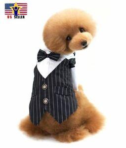 Tie Tuxedo Wedding Bow Pet Clothes Dog Strips Shirt Suit Dress Halloween Costume