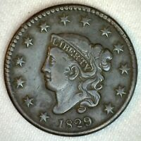 1829 Coronet Head US Large Cent Copper Type Coin VF Very Fine Grade 1c US Penny