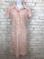 Vintage Serbin Designed Muriel Ryan Hieroglyphics Novelty Print Shirt Dress Sz L