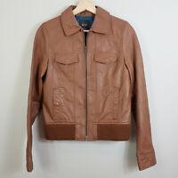 SPORTSGIRL   Womens Brown Leather Zip Jacket [ Size AU 8 or US 4 ]