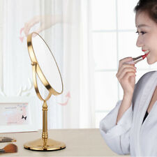 Gold Color Brass Beauty Makeup Cosmetic Double-Sided Magnifying Mirror yba641