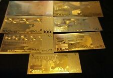 <HUGE-20 PC. LOT>GOLD BANKNOTES 7-EURO/7 U.S AND 3 SILVER/2COINS/1JADE°Free S&H!