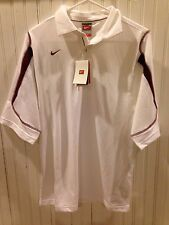 NWT New Nike Fit Dry Stiff Arm Polo Short Sleeve Shirt White Red S Small SRP $60