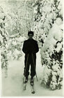 1960's Soviet photo SKIER IN BEAUTIFUL SNOW-COVERED FOREST