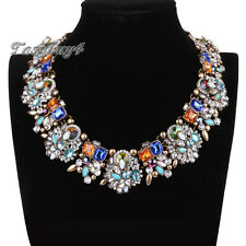 Crystal Rhinestone Cluster Choker Bib Statement Collar Pendant Women Necklace