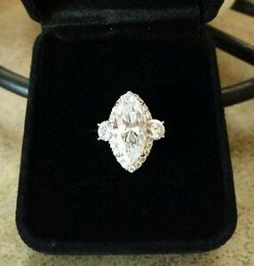 3 Carat Marquise Diamonique Solitaire Engagement Ring Size 5 QVC