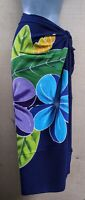 Sarong Hand Painted Bali Navy Plumeria Pareo Dress Skirt  Beach Cover Up Wrap