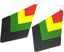 Rasta Wood Earrings Hand Painted Women's Diamond Shape - Jamaica Africa 1Pair