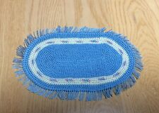 """Sweet MINIATURE DOLL HOUSE Crocheted BLUE RUG With FRINGE 4.5""""x7"""""""
