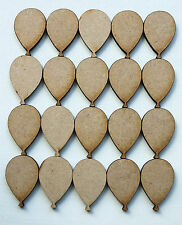 20 x WOODEN BALLOON SHAPES LASER CUT MDF BLANKS, EMBELLISHMENTS, CRAFTS, HOBBY