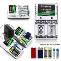Rechargeable Batteries Charger Station for AA AAA 9-V Block Ni-MH Ni-Cd US Plug