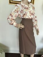 70's Vintage White Brown Yellow Retro Floral Long Sleeve Blouse