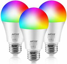 AXTEE WiFi Smart LED Light Bulb, RGBCW Dim Color Changing  E26 7W 3 PACK