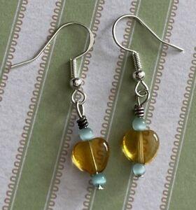 Brighton Yellow Heart Glass Clear Crystal Sparkle Blue Beads Custom Earrings