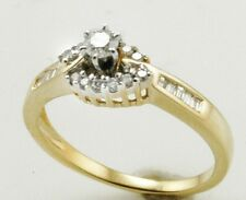 BAGUETTE & ROUND DIAMOND 14K GOLD  ENGAGEMENT RING