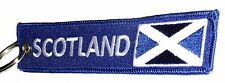 Embroidered Fabric SCOTLAND St. Andrews Flag Double Sided Keyring / Keychain