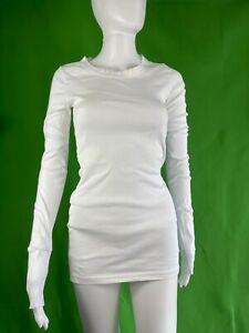 MICHAEL STARS WHITE Long Sleeve Slub Tee OS EUC T-Shirt