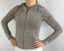 Juicy Couture Hoodie Jacket Velour Long Sleeve Zip Up O'Groats Taupe Size S