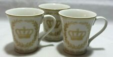 222 Fifth Les Etoiles Crown Gold Porcelain Coffee Mugs Set of Three