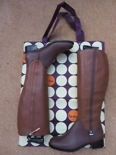New Boden Knee High Boots, Two Tone Leather, Riding Style + Bag  Sz UK 4 / EU 37