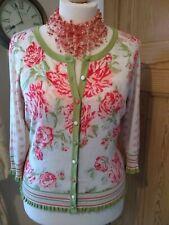 Per Una Pink/Green/ peach  Floral Cardigan Size 18 ribbed cuff/ trim