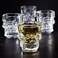 (2) Shot Glasses Cup Crystal Skull Head For Home Bar Party Whiskey Wine Vodka