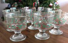 Set of 9 Libbey Christmas Holiday Holly Berry Sherbet Glass Eggnog Dessert Cups