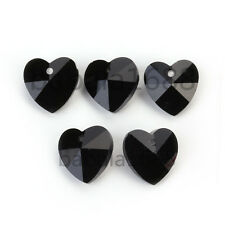 14mm Faceted Crystal Glass Heart Pendant Loose Spacer Beads Necklace Findings