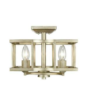 Golden Lighting 7151-SF Ceiling Fixtures Indoor Lighting Semi-Flush; White Gold