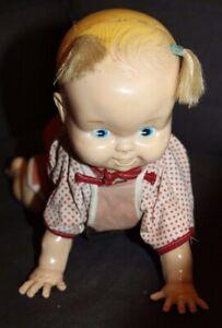 Vtg KEY WIND Crawling Baby Doll WORKS!