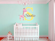 "Baby Giraffe Name Monogram Nursery Room Vinyl Wall Decal Graphics 22"" Tall"