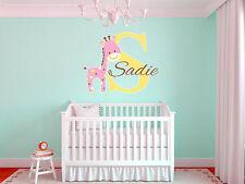 "Baby Giraffe Name Monogram Nursery Room Vinyl Wall Decal Graphics 22"" Tall"
