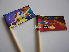20 CUPCAKE FLAGS/TOPPERS - BEAUTY AND THE BEAST CHILDRENS BIRTHDAY PARTY
