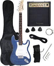 Crescent Blue Metallic Electric Guitar+15w AMP+Strap+Cord+Gigbag NEW