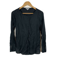 Veronika Maine Womens Blouse Top Size 6 Black Long Sleeve Good Condition