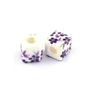White/Violet Porcelain Beads Cube 10mm Pack Of 10