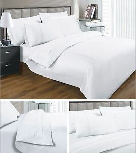 Single Double King Super Fitted Box Flat Sheet White Cream 100% Egyptian Cotton