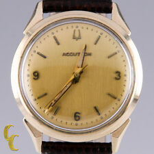 Vintage Men's Bulova Accutron Champagne Round Dial Brown Leather Band 34mm