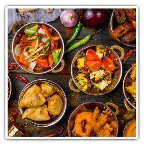 2 x Square Stickers 10 cm - Colourful Indian Food Curry Cool Gift #2657