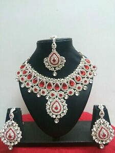 Indian Bollywood Style Rose Gold Plated Bridal Fashion Jewelry Necklace Set Tani