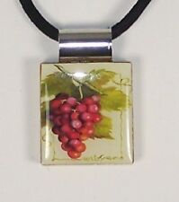 "Necklace 1"" Red Grape Cluster Wine Printed Scrabble Game Tile Leather Cord"