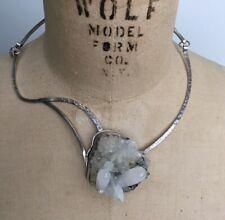 Cynthia Downs Sterling Silver Raw Quartz Crystal Handmade Artist Necklace