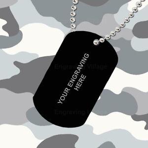 Black Aluminium - Personalised / Engraved-Army-Military-Dog-ID / Tag & Chain