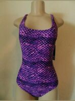 Speedo Women's Athletic Modest Coverage One Piece Swimsuit Purple Size 6 New w